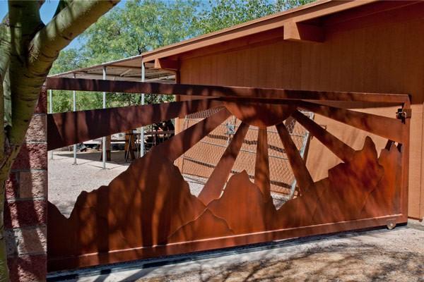 Custom Rustic Metal Entry Gates And Openers Tucson